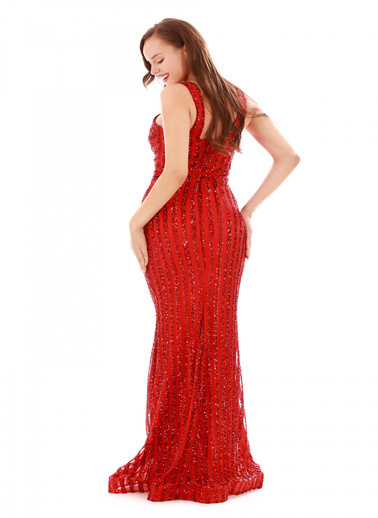 Pierre Cardin Çizgili Payetli Uzun Abiye Elbise Kırmızı